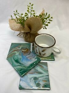 """4"""" ACRYLIC PAINT POURED ART COASTER SET OF FOUR (ORIGINAL, ONE OF A KIND!!!)"""