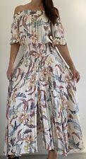 JAASE White Floral Bird Print Off The Shoulder Maxi Dress Sz XS AU 8 Boho Hippie