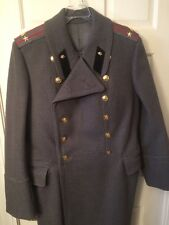 Mens L Military Style Heavy Wool Mix Double Breasted Jacket Winter Overcoat Gray