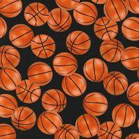 Fabric Basketball Court KAUFMAN on Black Cotton 1/4 Yard 1372