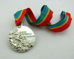 Los Angeles 1984 Olympic Winners Silver Medal with Ribbon 1:1 Full Size