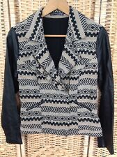 Primark Atmosphere Size 14 Tapestry Jacket Coat With Faux Leather Black Sleeves