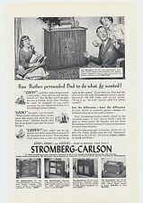 1948 Antique Vintage Stromberg Carlson Radio Photo Lithograph Ad Man Cave Decor