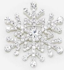 NEW Christmas Hoilday Snowflake Brooch Pin Made with Sparkling Crystals