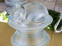 Indiana Glass Sleeping Cat Oval Candy Dish Glass Vintage Candy Box Dish With Lid