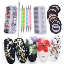 Nail Art Design Dotting Pen Brush Kit 30 Nail Decoration Tape Rhinestones Set