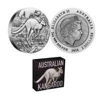 Australian Kangaroo 2016 $2 Dollars 2oz Pure Silver High Relief Antiqued Coin