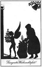 Schattenbild Weihnachtsmann mit Engel Weihnachtspostkarte um 1930