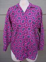 SPORTEG Button Shirt Sz L Pink Red Blue Floral Long Sleeve Tunic Blouse Top