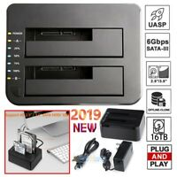 "16TB Dual-Bay USB 3.0 2.5"" 3.5"" SATA HDD SSD Hard Drive Clone Docking Station US"