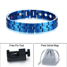 Blue Men Magnetic Bio Energy Health Bracelet Arthritis Pain Relief 4in1 Armband