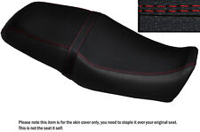 BLACK LEATHER BRIGHT RED DS STITCH CUSTOM FITS YAMAHA SRV 250 DUAL SEAT COVER