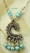 handcrafted original blue cats eye bead  PENDANT CHARM necklace