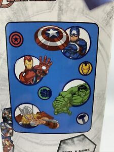 """Marvel Avengers Hero Time 46"""" x 60"""" Plush Throw New in Package"""