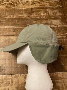 Vintage LL Bean Fleece Lined Goretex Winter Hat Ear Flaps 90s USA Green S/M