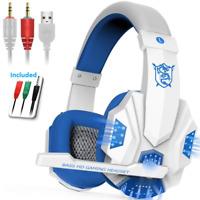 Stereo PC Gaming Headset for Desktop & Laptop Gamer w Mic Over Ear Headphones