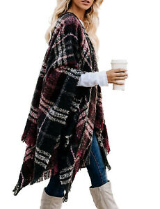 Women's Plaid Sweater Poncho Oversize Cape Coat Open Front Blanket Shawls Wraps