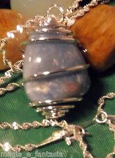 Collana con QUARZO BLU cristalloterapia zen chakra mineral argento pietre unisex