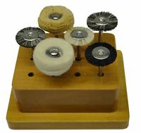 ASSORTED CIRCULAR BRUSHES AND POLISHING BUFFS SET 6 pc MOUNTED WITH WOODEN STAND
