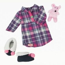 "Our Generation Nighty Night Nightgown w/ Stuffed Animal & Slippers for 18"" Dolls"