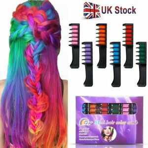 6x Temporary Dye Colour Hair Chalk Soft Pastel Cream Comb Salon Hair Brush PLAY