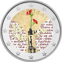 2 Euro Gedenkmünze Portugal 2014 coloriert / m. Farbe Farbmünze Nelkenrevolution