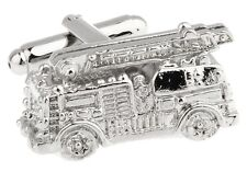 Fire Truck Cufflinks Silver Firefighter Wedding Fancy Gift Box Free Ship USA