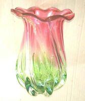 """Vintage Rare Hand Blown Cranberry Pink Green Swirl Scallop Flower Glass Vase 7"""""""