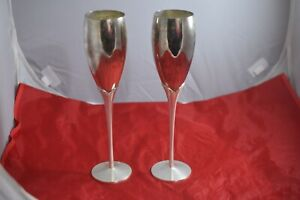"""Pair of Silver Plate & Rhinestone 10"""" Toasting Champagne Glasses-5"""