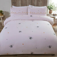 Pink Duvet Cover Bee Mine Bumble Bee Love Hearts Quilt Cover Set Bedding