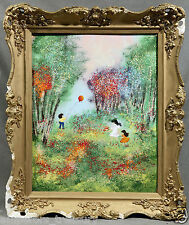 Louis Cardin Oil on Copper depicting Children and Balloons in Landscape