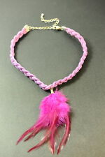 ECCENTRIC LADIES QUIRKY PURPLE LEATHER BRAIDED CHOKER NECKLACE WITH FEATHER ZX3