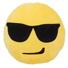 "13"" Cute Emoji Emotion Soft Round Plush Throw Pillow Bolster Cushion Home Decor"