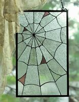 Victorian Trading Co Spiderweb Cobweb Clear Stained Glass Panel