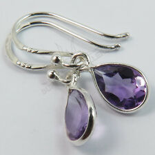 925 Solid Sterling Silver Pretty Little Earrings Purple AMETHYST Pear Gemstones