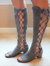 Blue Suede Open Toe Gladiator Boots Vintage Mod 1960s