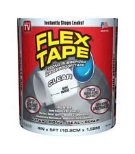"Flex Tape Rubberized Waterproof 4"" x 5' Clear Adhesive Tapes Adhesives Sealants"
