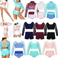 Kid Girls Dance Outfit Ballet Gym Leotard Lace Crop Top+Shorts Sport Fitness Set