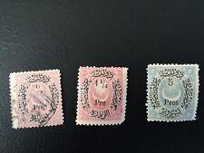 Turkey/Ottoman Emp 3 stamps Halfmoon doubleoverprint set 1876 MH/Used very rare