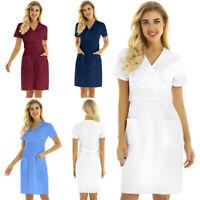 Damen Arztkittel Arbeitsmantel Medizin Kittel Krankenschwester Kostüm Kleider