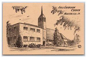 Northwood, IA, First Lutheran Church, CustomArt Postcard 1982