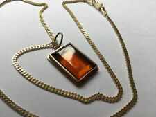 HM Hallmarked 9ct 9ct Gold Simple Square Oblong Honey Amber Pendant Curb Chain