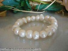 Armband aus Echte Große Perlen Creme-Weiß Barock 12mm-14mm / 21cm, TOP Geschenk