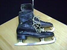 Antique  Leather CCM Ice Skates 11  St Moritz Black Leather Mens