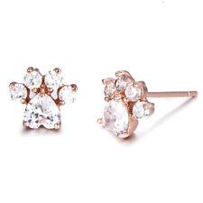 Rose Gold Heart Cut White Sapphire Cute Dog Paw Footprint Stud Earrings Ear Stud