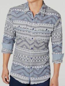 $98 American Rag Men's Blue Gray Long-Sleeve Geo Jacquard Cotton Button Shirt XL