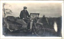 Young Man Biker Riding 1910s Harley Davidson Motorcycle Attached Sidecar Photo