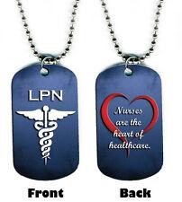 DOG TAG NECKLACE - Nurse LPN Heart #SN1 Healthcare Medical