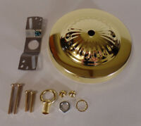 """5 1/4"""" Brass Plated Steel Ceiling Canopy Kit For Fixtures w/ Hardware #CA801"""
