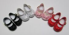 Doll Shoes, 46mm WHITE Patent Ankle Straps for Ann Estelle, Others